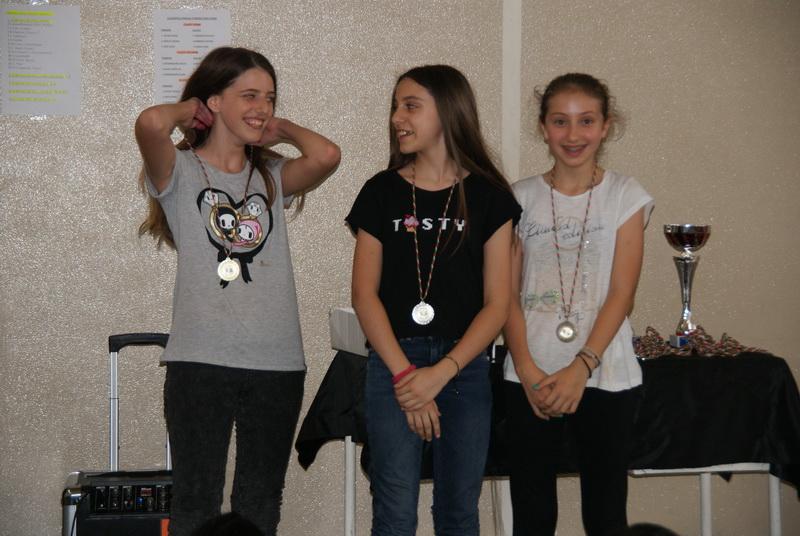 Prime tre classificate Torneo di Ping Pong